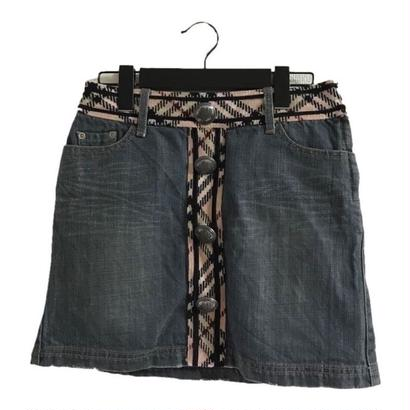Burberry check wool denim mini skirt(No.3038)