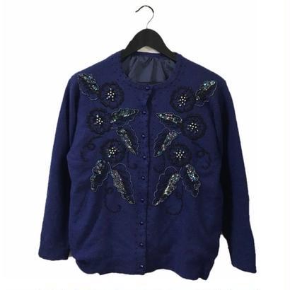 bijou span design knit cardigan navy
