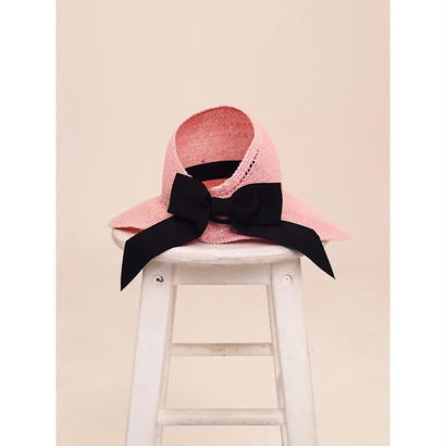 ribbon wide sun visor pink