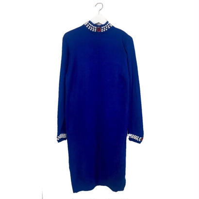 pearl design knit blue one-piece