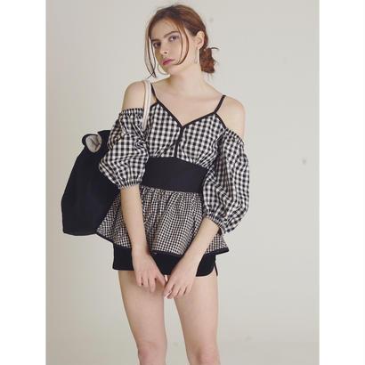 offshoulder gingham check blouse black