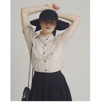 heart see-through frill blouse ivory