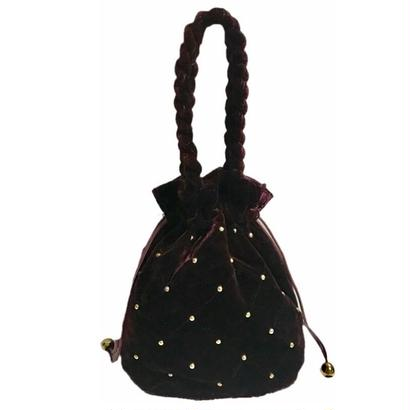 velour quilting gold studs bag