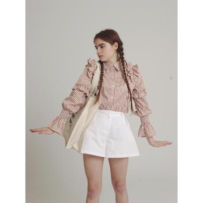 stripe frill blouse pink