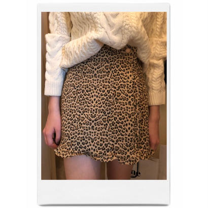 leopard frill mini skirt