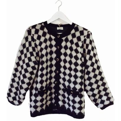monotone pattern knit cardigan