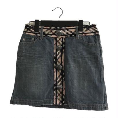 Burberry check wool denim mini skirt