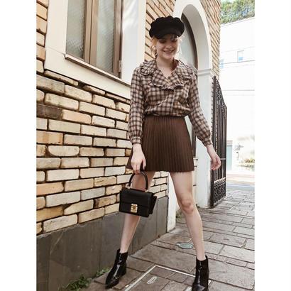 suède pleats mini skirt brown