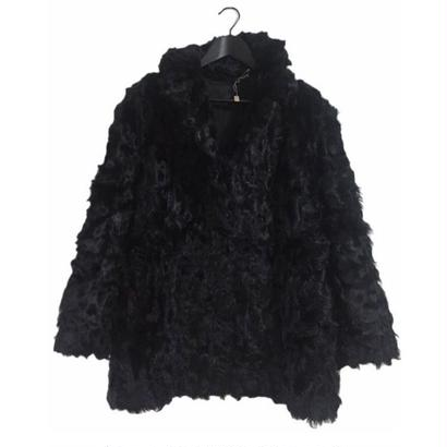 Curly hair black real fur coat