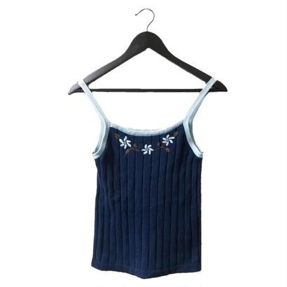 Flower design knit camisole blue
