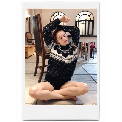 Nordic heart wool knit black