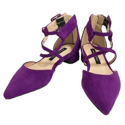 cross pointed toe shoes purple