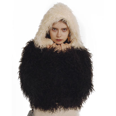 hood 2way volume fur coat bi-color black