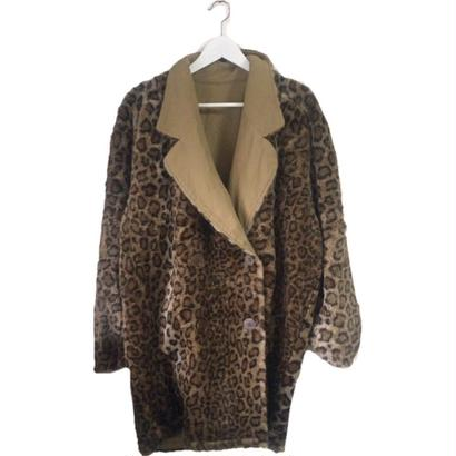 2way trench leopard fur coat