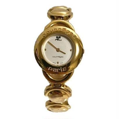 courreges gold chain watch