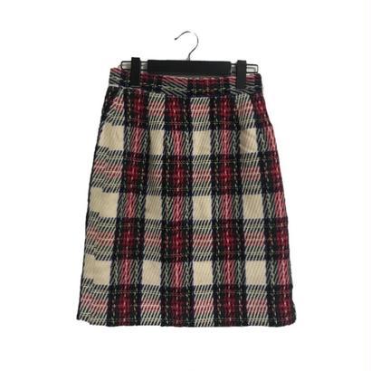 tweed check skirt white