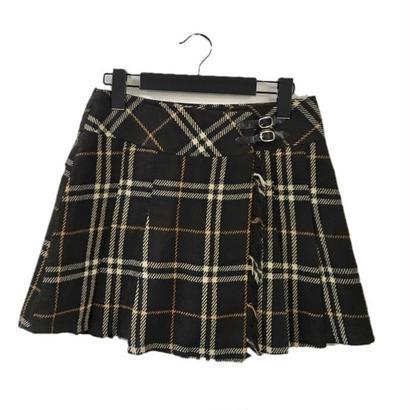 check wrap fringe skirt