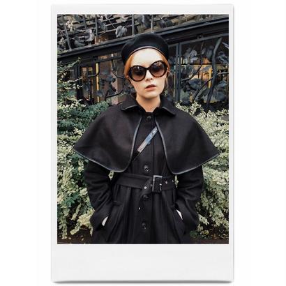 piping cape 2way coat black