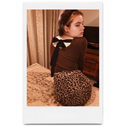 back ribbon lib knit brown