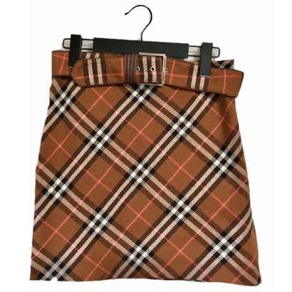 burberry  high-waist belt check skirt blown