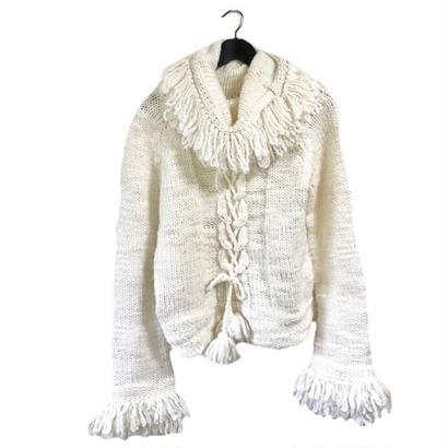 lace up fringe design knit white