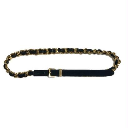 suède gold  chain belt