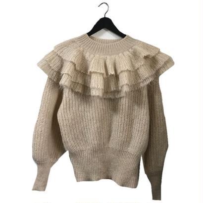 frill design knit cream beige