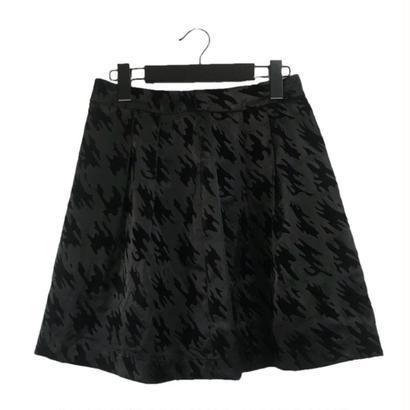 satin flare check mini skirt