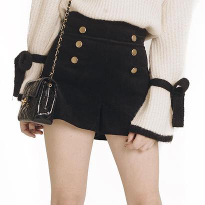 corduroy short pants black