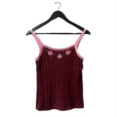 【スペシャルプライス】Flower design knit camisole pink