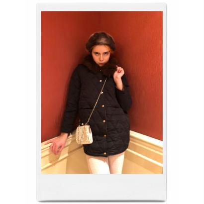 fur quilting down coat black