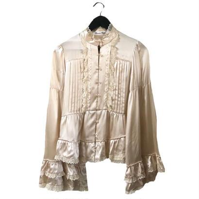 satin frill vell sleeve blouse