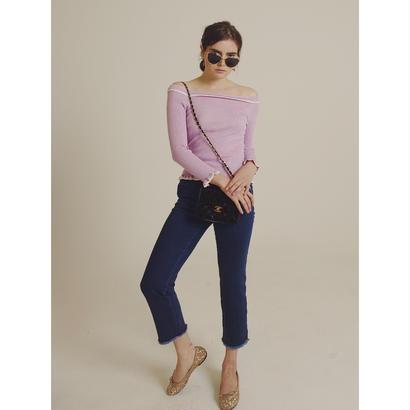 high-waist blue denim  pants