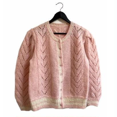 vintage knit cardigan baby pink