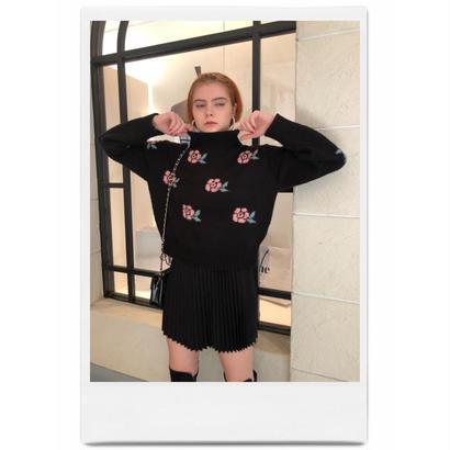 rose design knit black