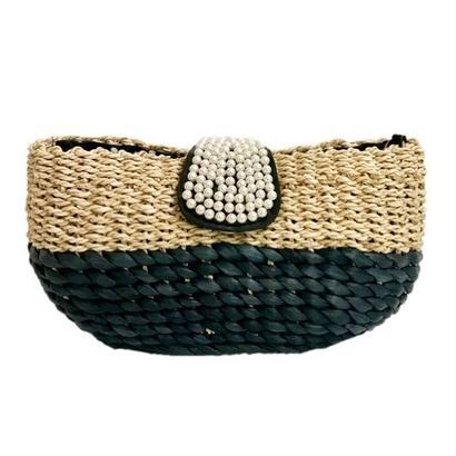 pearl design basket shoulder bag