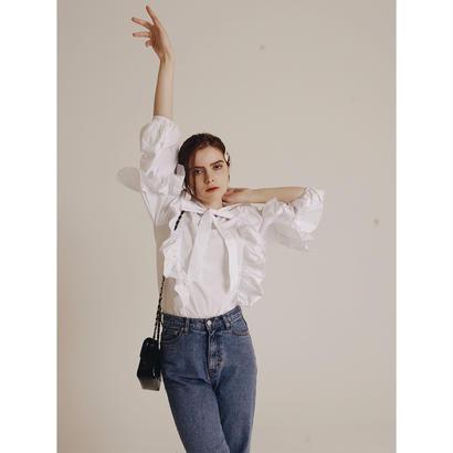volume frill ribbon blouse