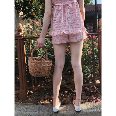 lace heart short pants pink