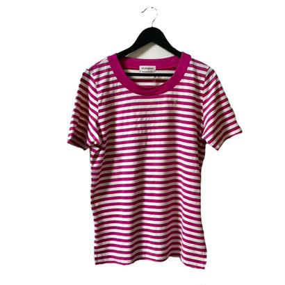 YSL pink boarder tee