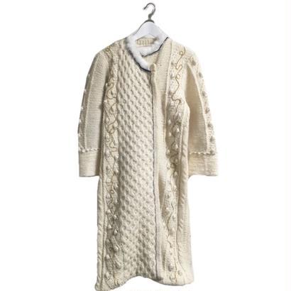 cord design fur knit coat