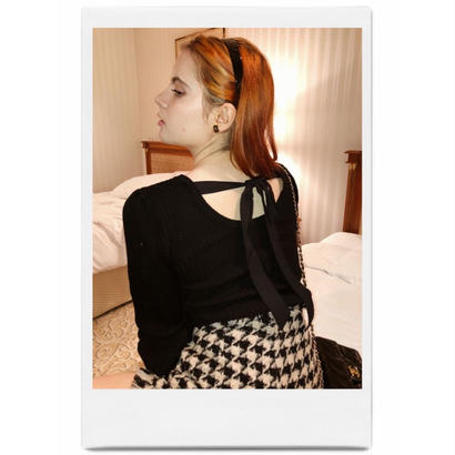 back ribbon lib knit black