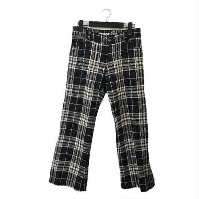 wool tweed check pants