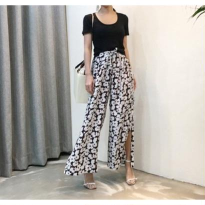 Flower slit loosepants
