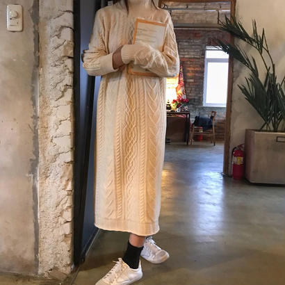 wool cable knit one-piece