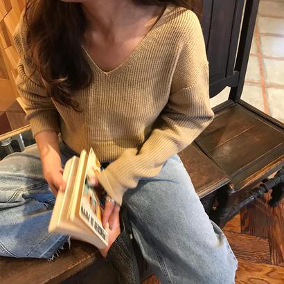 spring simple V neck knit