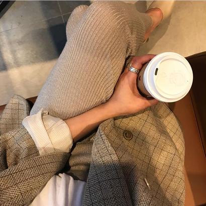 〈数量限定〉lamé rib knit pants