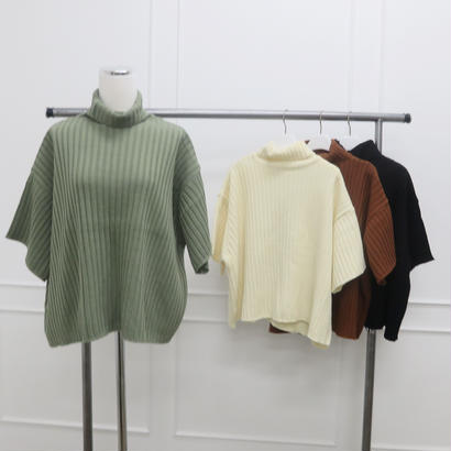 rib half turtle knit