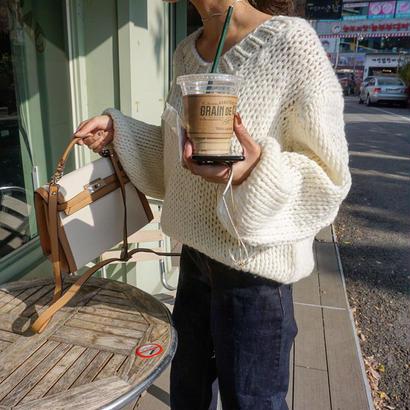 V neck handmade knit