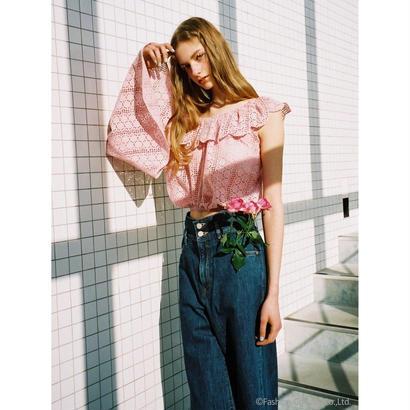 Honey mi Honey (ハニーミーハニー)  oneshoulder cottonlace blouse5月下旬18S-TA-36