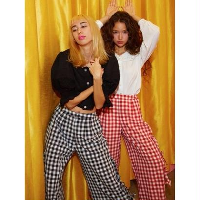 Honey mi Honey (ハニーミーハニー) sideribbon gingham pants  【17S-TA-16】